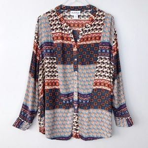 North Style Boho Mix Print Button Down Blouse